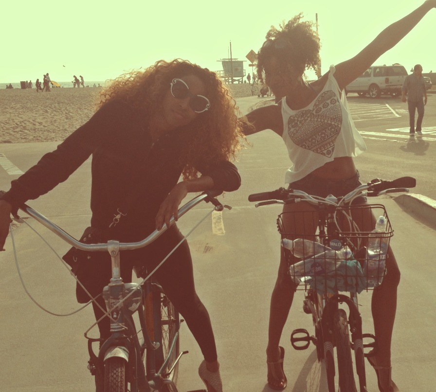 Necole and Lauren Beach Biking